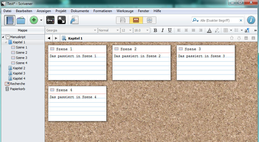 Screenshot von Scrivener