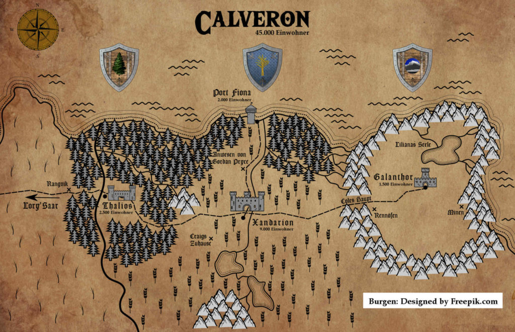 Königreich Calveron: Eine Landkarte