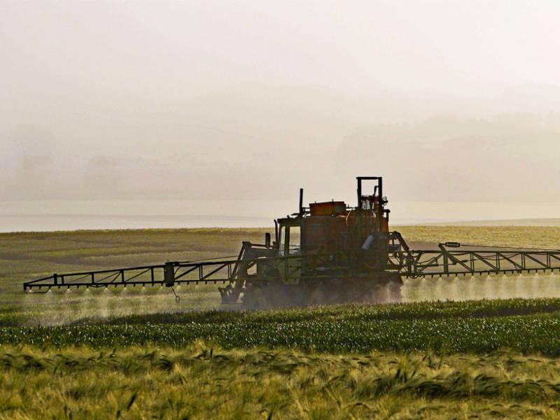 Ein Sprühfahrzeug bringt Herbizid(e) auf einem Feld aus